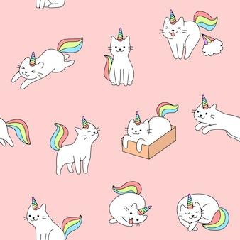 シームレスなキュートなユニコーンの猫のパターンのイラスト