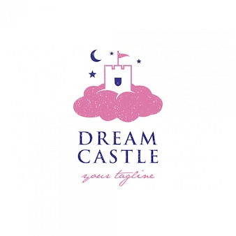 Шаблон логотипа замок мечты премиум
