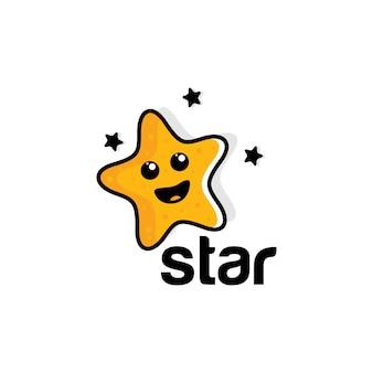面白い笑顔の星のイラストのロゴ。