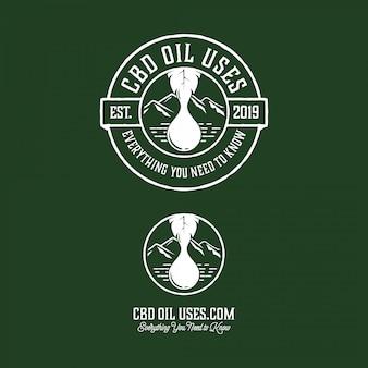 Логотип с маслом конопли в современном винтажном стиле