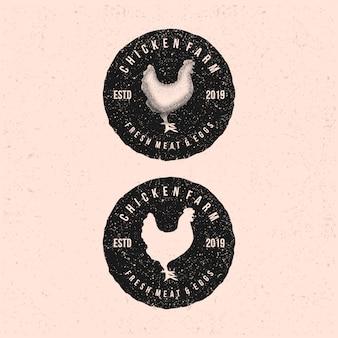 Шаблон логотипа курица. значки и элементы дизайна. ретро стиль.