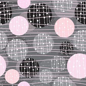 抽象的な幾何学的な円と線のシームレスなパターン