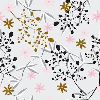 抽象的なシームレスな花柄の女性らしいデザイン