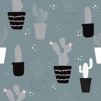 シームレスなトレンディな手描きのサボテンのパターンの背景