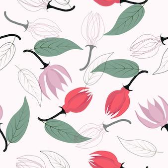 シームレスな抽象的な花の表面パターンの背景
