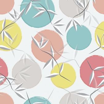 抽象的な葉とパステル調の円のシームレスなパターン背景