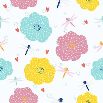 抽象的な手描きの花のシームレスなパターン背景