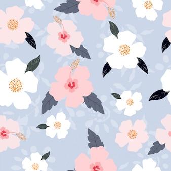 Симпатичные пастельные цветы бесшовные модели