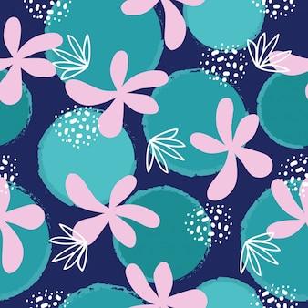 抽象的な手描きの花のシームレスパターン