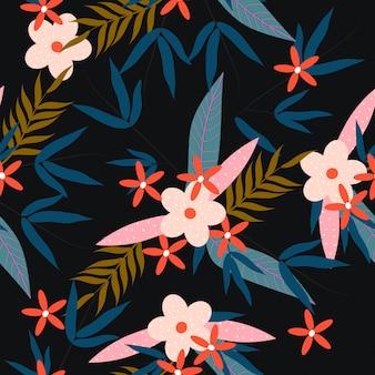 カラフルなトロピカルスプリング花柄シームレス