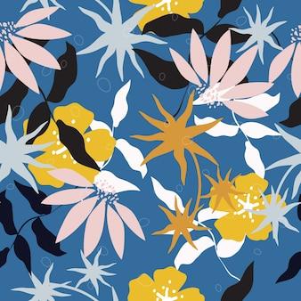 抽象的なシームレスなカラフルな花の表面パターン背景