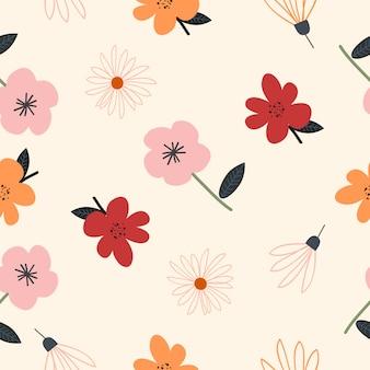 かわいい手描きの花のシームレスなパターン背景