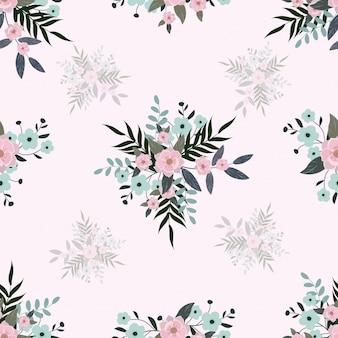 Бесшовный милый пастельный цветочный букет