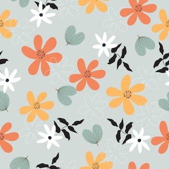 シームレスなカラフルな熱帯の春の花柄の背景