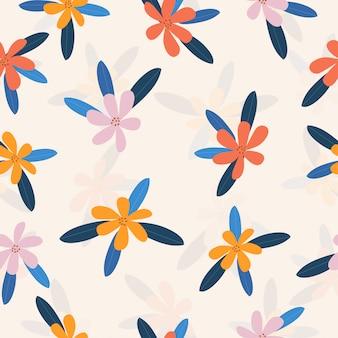 シームレスなかわいいカラフルな花柄の背景