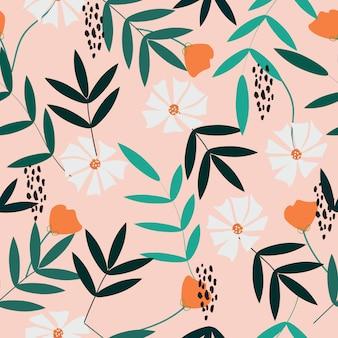 Симпатичные рисованной цветы бесшовный фон фон
