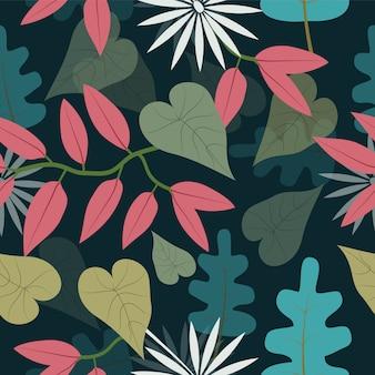 シームレスな熱帯花柄シームレスパターン