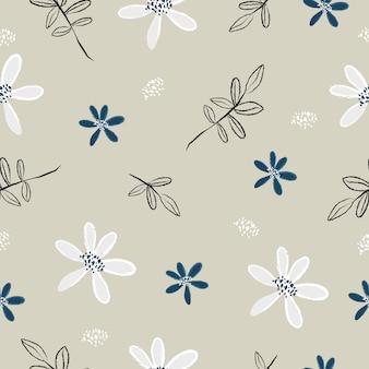 かわいいエレガントなヴィンテージ花のシームレスパターン