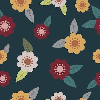 シームレスな咲く春の花柄のパターンベクトル