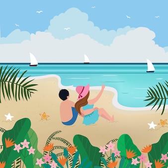 夏のビーチでリラックスした恋人。