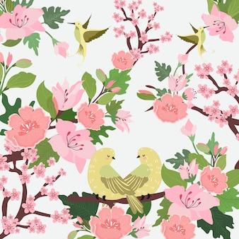 美しい鳥と緑の葉のイラストとピンクの花。