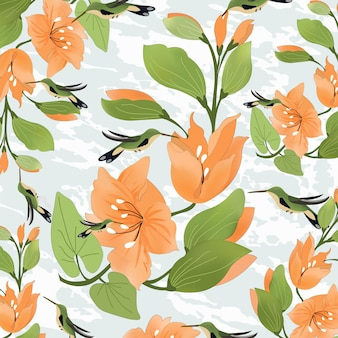 Оранжевый цветок с зеленым листом и зеленой птицей
