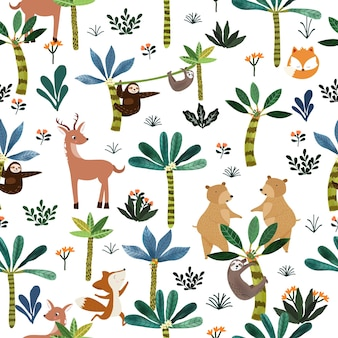 植物熱帯林のシームレスパターンでかわいい動物。