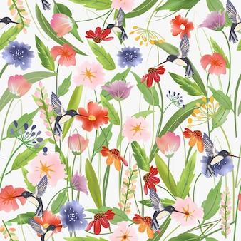 甘い花の森のシームレスパターンのかわいいハチドリ。
