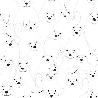 かわいいシロクマ漫画のシームレスパターン。