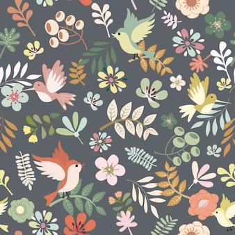 かわいい鳥と葉のレトロなスタイルのシームレスパターンを持つ花。