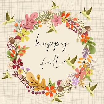 鳥と甘い秋のフローラルリース