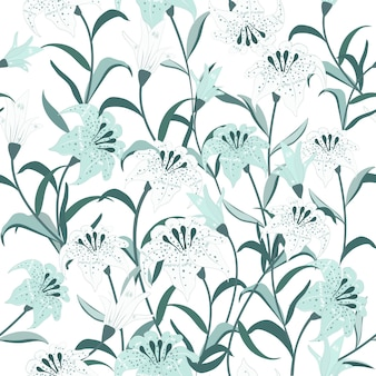 美しい青と白の花のシームレスなパターン。