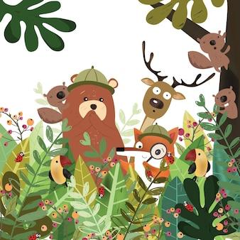 植物の熱帯林のかわいい動物。
