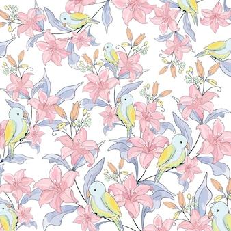ピンクの花と庭のかわいい鳥。