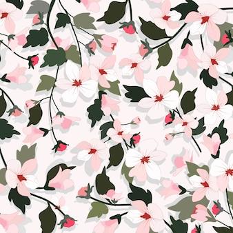 ピンクの花と緑の葉