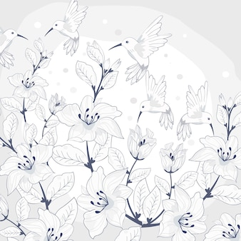 美しい花とハミングバードの裏地パターン。