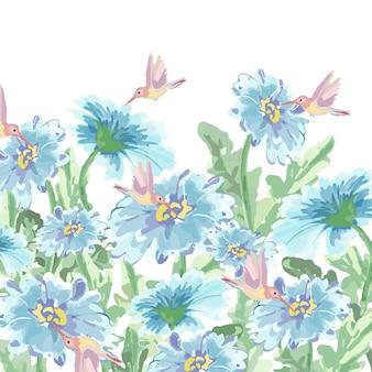 Милый колибри и ярко-синий цветок в саду.