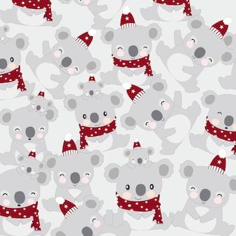 Милый медведь коала счастливы на зимний мультфильм.