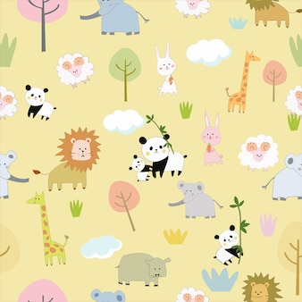 大きな動物園のシームレスなパターンでかわいい動物