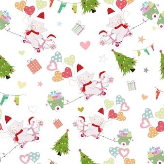 かわいい赤ちゃんゾウとクリスマスシームレスパターンにウサギ。