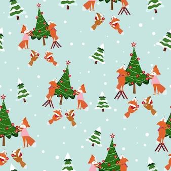 かわいいキツネの家族はクリスマスの日シームレスなパターンで幸せ