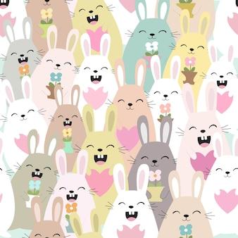 かわいいウサギのウサギ漫画シームレスパターン。