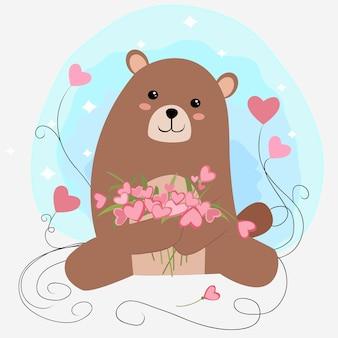 Милый плюшевый мишка с любовным цветочным мультфильмом.