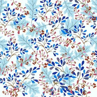 美しい青い葉と紫の花のシームレスパターン。