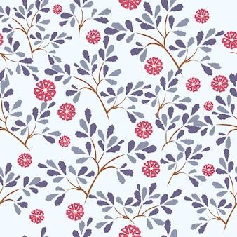 青い葉と赤い花のシームレスパターン。