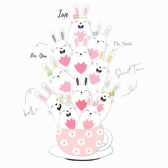 コーヒーカップの漫画でかわいいウサギのウサギ。