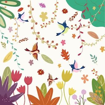 熱帯林のパターンで甘い鳥