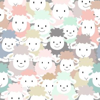 かわいいカラフルな羊漫画のシームレスパターン。