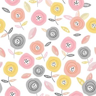 甘いカラフルなバラの花のシームレスパターン