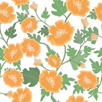 美しいオレンジ色の花と葉のシームレスパターン。